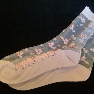 Pink sheer floral socks
